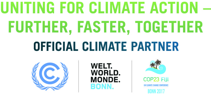 logo Uniting for Climate action- further, afster, together official climate Partner